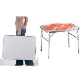 Aluminium Klapptisch Campingtisch 75x55cm Gartentisch Beistelltisch Falttisch Picknicktisch Alutisch faltbar und höhenverstellbar -