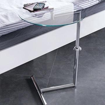 Beistelltisch höhenverstellbar Metall gehärtete Glasplatte rund 46 cm Ø silberfarben -