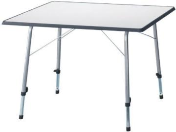 Camping-Picknicktisch grau 80x60cm klappbar, Beine einzeln höhenverstellbar, leicht+stabil -