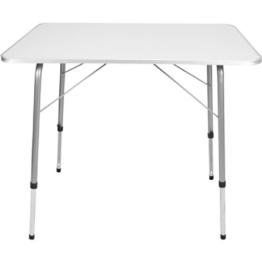 Campingtisch Gartentisch Klapptisch aus Metall mit MDF Tischplatte 80 x 60 cm Höhenverstellbar -