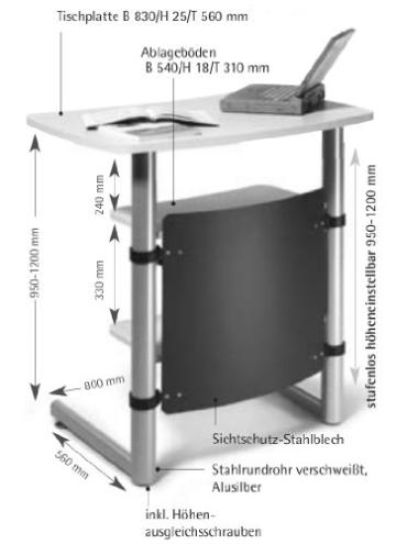 Creaform M Rednerpult / Stehpult, höhenverstellbar, Ahorn Dekor -
