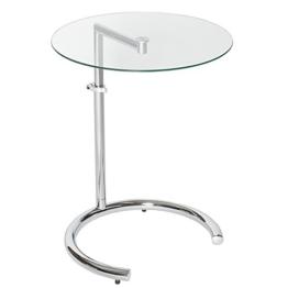 Design Beistelltisch EFFECT 50 - 70 cm Chrom Glas höhenverstellbar Tisch Glasplatte Glastisch -