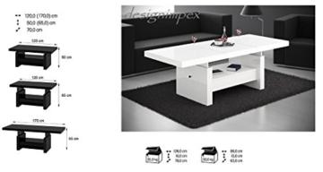 Design Couchtisch H-111 Weiß Hochglanz Schublade höhenverstellbar ausziehbar Tisch Wohnzimmertisch -