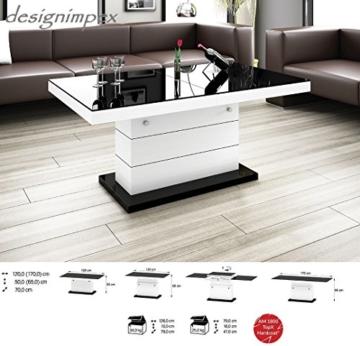 Design Couchtisch H-333 Weiß / Schwarz Hochglanz höhenverstellbar ausziehbar Tisch Wohnzimmertisch -