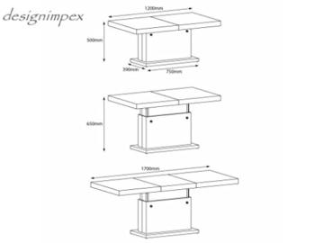 Design Couchtisch H-333 Weiß Hochglanz höhenverstellbar ausziehbar Tisch -