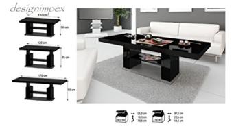 Design Couchtisch HN-777 Schwarz - Grau Hochglanz höhenverstellbar ausziehbar Tisch -