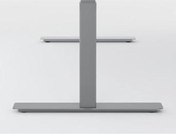 Elektrisch höhenverstellbarer Schreibtisch, Ergonomieform, 2000x1000x600-1250, Nussbaum/Silber, Geramöbel -
