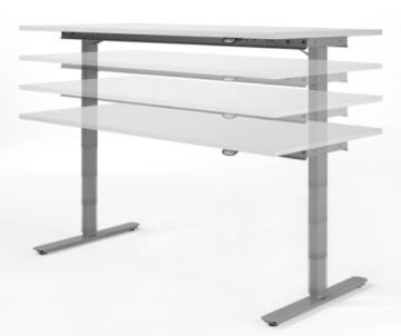 Geramöbel elektrisch höhenverstellbarer Schreibtisch 1200x800x680-1160, Lichtgrau -