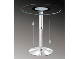 Glastisch höhenverstellbar Beistelltisch rund 60 cm Klarglas -