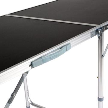 Homfa 180cm Campingtisch Klapptisch Aluminium Gartentisch höhenverstellbar Campingmöbel Camp Falttisch Reisetisch schwarz (Schwarz, 180cm) -
