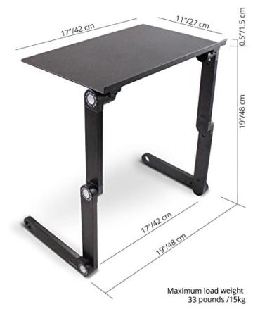 Lavolta Ergonomisch Notebook Laptop Ständer Tisch Bett Frühstück Tablett - Ausklappbare Ebenen - Aluminium - Schwarz -