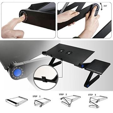 LONGKO 360° verstellbarer Laptop Notebook Ständer ergonomischer Tisch Tablet Halterung mit 2 Lüfter Ablage für die Maus für CouchBett Sofa (Schwarz) -