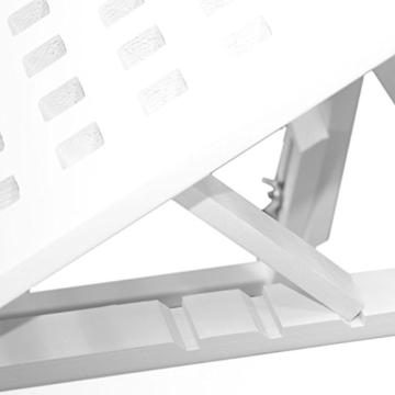 NEG Notebook-Tisch NegTray SQUARE ALEA (weiß) Laptop-Tray/Knietablett mit höhenverstellbare Füßen/Scharnier-Ablage aus Echt-Holz + Belüftung -