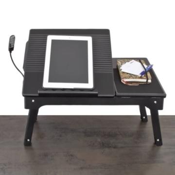 Relaxdays 10017196 Laptoptisch mit Licht und USB-Anschlüssen - höhenverstellbares Laptoptablett -