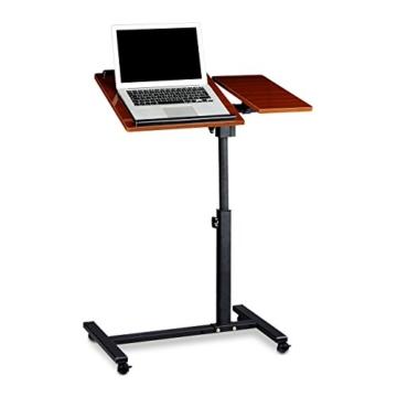 Relaxdays Laptoptisch höhenverstellbar HBT 95 x 60 x 40 cm Notebook Ständer auch für Linkshänder Sofatisch Beistelltisch mit bremsbaren Rollen mit Ablage für Maus mit 2 Stopp-Leisten, Mahagoni, rot -