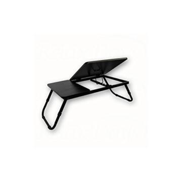 Relaxdays Laptoptisch Lapdesk Betttisch Betttablett Notebook-Tisch Beistelltisch Laptop BTH 60 cm x 35 cm x 24 cm Holz schwarz mit Leseklappe höhenverstellbar klappbar -