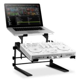 resident dj DJX-250 Doppel DJ Pult Laptopständer 2-fach 2er Rack Stand Notebook Tisch für PC und Controller (2 Ablagen, in Höhe und Breite verstellbar, schneller Auf- und Abbau) schwarz -