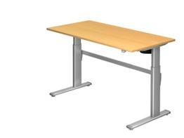 Schreibtisch Hammerbacher Serie XM 160 cm Elektrisch Aluminium / Holz Dekor wählbar, Dekor:Buche -