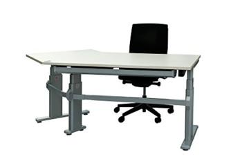 Schreibtisch Winkelschreibtisch Eckschreibtisch ergonomisch elektrisch höhenverstellbar Bürotisch Büromöbel Arbeitstisch Workstation (Weiß) -
