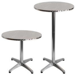 Torrex 30151 Bistrotisch aus Aluminium mit Edelstahlplatte - höhenverstellbar - 75cm oder 110cm, Ø 60cm -