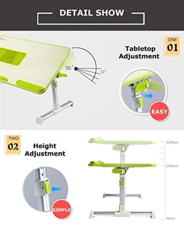 XGEAR Voll einstellbare MDF-Platte Laptop-Tisch | Tragbaren Notebook-Computer-Standplatz mit eingebautem Lüfter | Premium-Höhenverstellbarer Folding Lap Desk Tray (grün) -