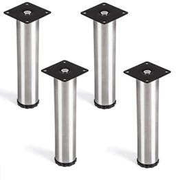 SO-TECH® 4er Set Lukas Möbelfuß Ø 42 mm Edelstahl höhenverstellbare Tischfüße Höhe 200 mm -