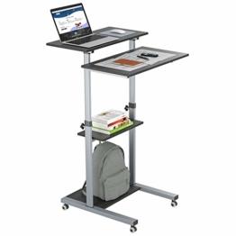 BONTEC Laptoptisch mit Rollen Stehpult Höhenverstellbar Laptop Ständer Mobile Workstation Kompakter Stand-up-Computer Präsentationswagen Ergonomisch mit 4 beweglichen - 1