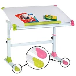 CARO-Möbel Kinderschreibtisch Schülerschreibtisch Helena höhenverstellbar und neigbar in weiß mit wechselbaren Kappen in grün und rosa pink für Jungs und Mädchen - 1