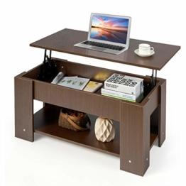 COSTWAY Couchtisch höhenverstellbar, Sofatisch mit Ablagefach, Beistelltisch aus Holz, Kaffeetisch Teetisch für Wohnzimmer Balkon Flur (braun) - 1