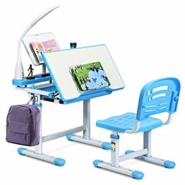 COSTWAY Kinderschreibtisch höhenverstellbar, Schülerschreibtisch mit Lampe, Kindermöbel neigungsverstellbar, Kindertisch mit Stuhl, Schreibtisch mit Schublade, Farbewahl (Blau) - 1