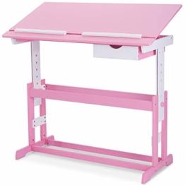 COSTWAY Kinderschreibtisch Kindermöbel Kinderzimmer Kindertisch Schreibtisch Schnülerschreibtisch Computertisch Bürotisch neigungsverstellbar höhenverstellbar Farbewahl (Rosa) - 1