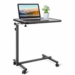 COSTWAY Laptoptisch höhenverstellbar, Pflegetisch Notebooktisch Betttisch Sofatisch Rolltisch, neigbare Tischplatte mit Rollen (Grau) - 1
