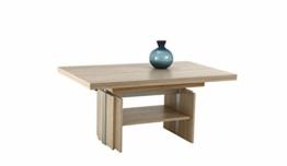 Couchtisch Jerome, Holzwerkstoff Dekor Sonoma Ei., ausziehbar+höhenverstellbar mit Lift, 110-177x68x53-69 cm - 1