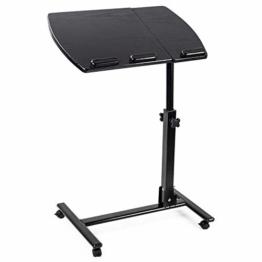 D4P Display4top Laptoptisch höhenverstellbar, Laptopständer Holz, mit Rollen, drehbar, HxBxT: 90x 56x 39 cm, schwarz - 1