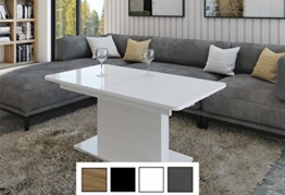 Design Couchtisch Tisch DC-1 Hochglanz stufenlos höhenverstellbar ausziehbar Esstisch (Weiß Hochglanz) - 1