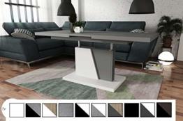 Design Couchtisch Tisch Grand Noir Grau matt/Weiß matt stufenlos höhenverstellbar ausziehbar 120 bis 180cm Esstisch - 1