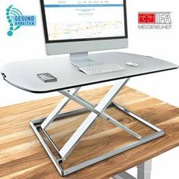 Deskfit 3in1 höhenverstellbarer Schreibtisch-Aufsatz 80cm, stufenlose Pneumatik Gasfeder, hochwertige Aluminium Sitz-Steh Workstation, stabile Doppel-X Konstruktion, Laptop-Tisch DF50 Monitorständer - 1