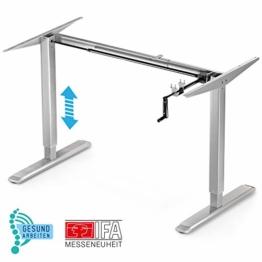 Deskfit - Gesund Arbeiten! Höhenverstellbarer Schreibtisch, 2fach Teleskop Säulen Tischgestell DF100, manuell stufenlos ergonomisch höhenverstellbar, Kurbel klappbar –für Jede gängige Büro Tischplatte - 1
