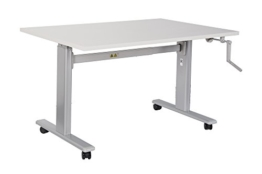 Dila GmbH Bürotisch Schreibtisch manuell höhenverstellbar mit grauen Tischgestell Workstation Büromöbel Arbeitstisch Produktionstisch (100 x 80 cm, Lichtgrau) - 1