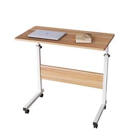 DlandHome 80 * 40cm Computertisch Schreibtisch Laptoptisch Beistelltisch mit Rollen höhenverstellbar, Laptop Notebook Ständer Tisch Frühstück Tablett für Bett, Sofa, Couch Eiche - 1