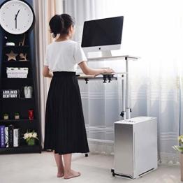 DlandHome Sit-Stand Tischwagen Mobile Höhenverstellbare Sitzfläche zum Stehpult Stehtisch Stehtisch Arbeitsplatz Mobile Schreibtisch Mit Mauspad, Ahorn - 1