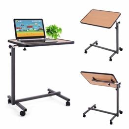 DREAMADE Beistelltisch, Betttisch Laptoptisch Pflegetisch Notebooktisch, Höhenverstellbar Neigungsverstellbar mit Rollen und Bremsen (Natur) - 1