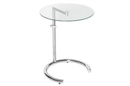 DuNord Design Beistelltisch Glastisch Calais Chrom/Glas höhenverstellbar Art Deco Design Tisch Sofatisch - 1