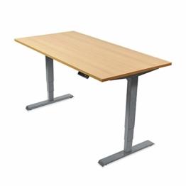 Ergotopia Elektrisch höhenverstellbarer Schreibtisch 5 Jahre Garantie | Ergonomischer Steh-Sitz Tisch mit Memory Funktion | Beugt Rückenschmerzen vor & Macht produktiver (120x80, Buche, G) - 1