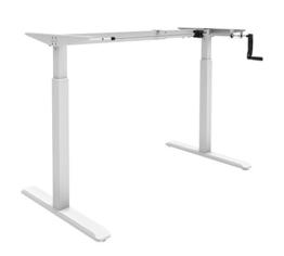 Exeta ergoK höhenverstellbarer Schreibtisch/Computertisch (Version 2020) manuell mit Eleganter Kurbel, höhenverstellbares Tischgestell - Passend für Alle gängigen Tischplatten Weiss - 1