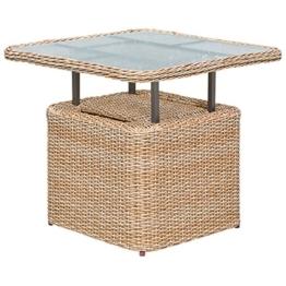 gartenmoebel-einkauf Loungetisch Veneto 72x72cm, Stahl + Polyrattan Natur, höhenverstellbar, Tischplatte Glas - 1