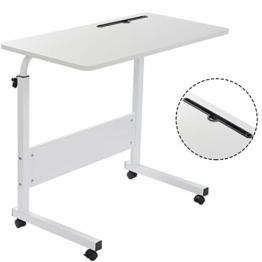 Grandma Laptop-Tisch mit Hai-Motiv, stehend, höhenverstellbar, Computer-Schreibtisch mit Handy-, Tablet-PC-Steckplatz, beweglich mit Rollen, tragbarer Beistelltisch für Bett, Sofa, weiß, 80×40 - 1