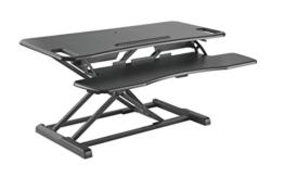 HALTERUNGSPROFI Steh-Sitz Schreibtisch Sit-Stand Workstation Höhenverstellbarer Aufsatz für den Schreibtisch, zum Arbeiten im Sitzen oder Stehen mit Gasdruckfeder GTS-012 (95cm) - 1