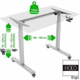 HOKO® Ergo-Work-Table Höhenverstellbarer Schreibtisch Basic Grau, manuell höhenverstellbar, für Tischplatten ab 2,5cm. Inkl. Rollen und Standfüße. Ergonomisches Arbeiten im Sitzen und im Stehen! - 1