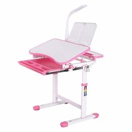 Homfa Kinderschreibtisch Schülerschreibtisch Kindertisch Schreibtisch höhenverstellbar, mit kippbarem Holztisch, antireflektierender Tisch, Buchständer, ausziehbare Schublade und Touch-LED Rosa - 1
